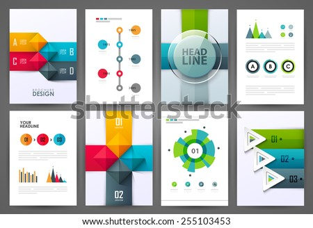 Set of brochure design templates. Design elements. Bright modern backgrounds. - stock vector