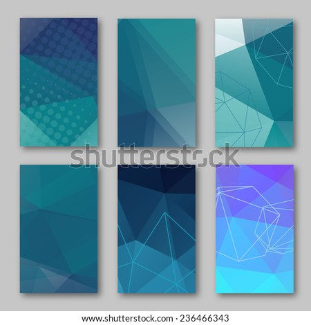 Set of brochure design templates. Geometric triangular abstract  backgrounds. Mobile technologies, applications and online services concept, vector illustration - stock vector