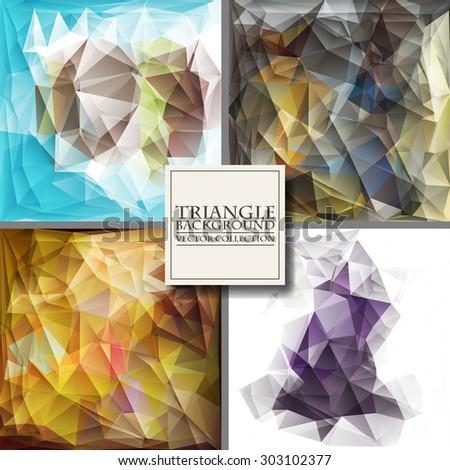 Set of Brochure Design Templates. Geometric Triangular Abstract Modern Backgrounds. Vector Illustration. - stock vector