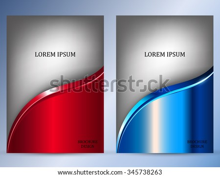 Set of Brochure Flyer design vector template. Red and blue metal background - stock vector