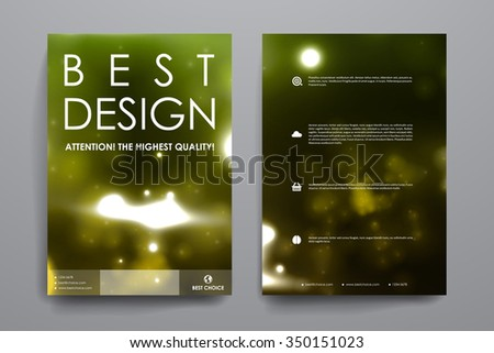 Set of brochure, poster templates in neon molecule structure style. Beautiful design and layout - stock vector