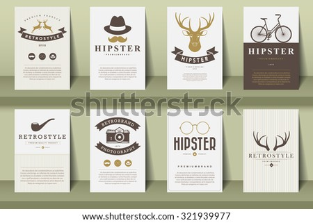 Set of brochures in vintage hipster style .Vector eps10 - stock vector