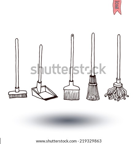 set of brooms, vector illustration - stock vector