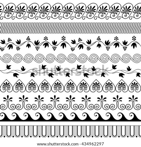 Set of brushes to create the Greek Meander patterns.Greek traditional borders. Decoration elements in black color isolated on white background. Could be used as divider, frame, etc.Vector illustration - stock vector