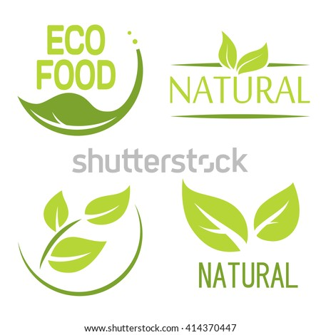 Set of bubbles, stickers, labels, tags with text. Natural, eco food. Organic food badges in vector (cosmetic, food). Vector logos. Natural logos with leaves. - stock vector