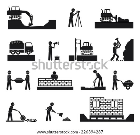 Set of builder construction industry management icons, civil engineering and management in black color on white background - stock vector