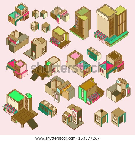 set of building isometric with vintage color - stock vector