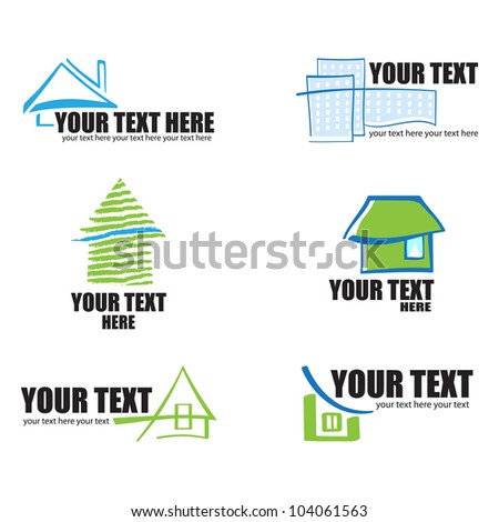 Set of 6 building real estate icons and design elements - stock vector