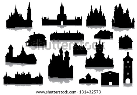 Set of buildings silhouettes - stock vector