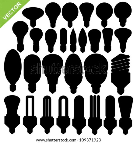 Set of Bulb silhouettes vector - stock vector