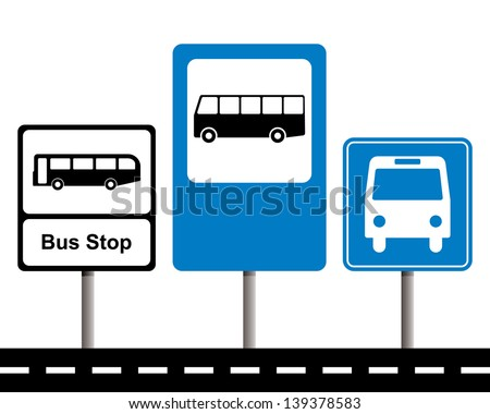 set of bus stop signs - stock vector