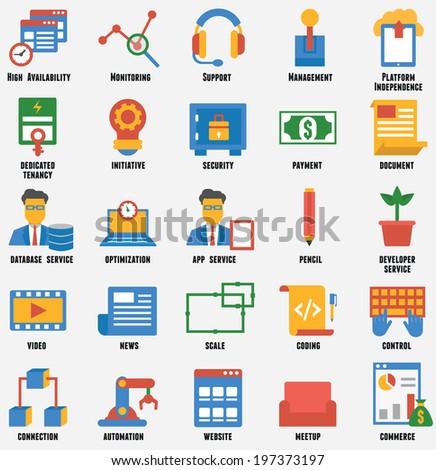 Set of business and development icons. Customer relationship management and service - vector icons - stock vector