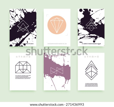 Set of Business Card Templates. Line Geometric Hipster Symbols for Logotype Design. Abstract Modern Vector Signs Collection for Banner, Poster, Placard or Card Design. - stock vector