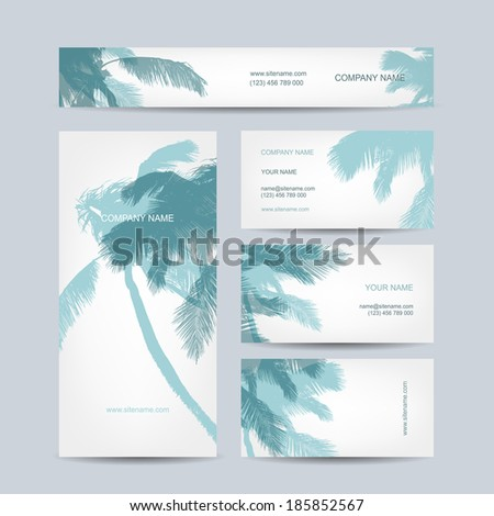 Set of business cards design, palm tree - stock vector