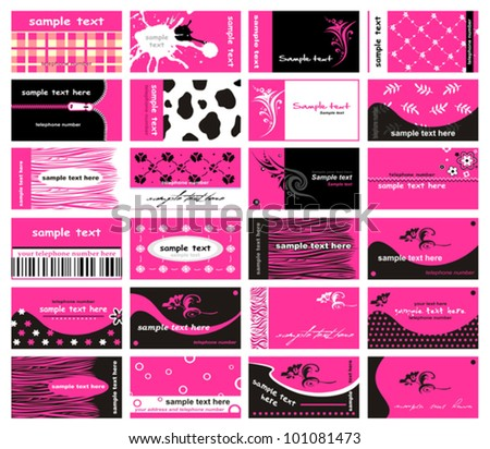 Set Of 24 Business Cards for lady. Vector - stock vector