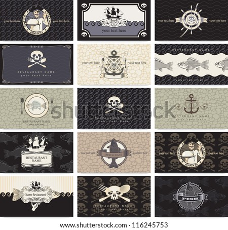 set of business cards for the pirate bar - stock vector