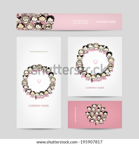 Set of business cards, group of women sketch - stock vector