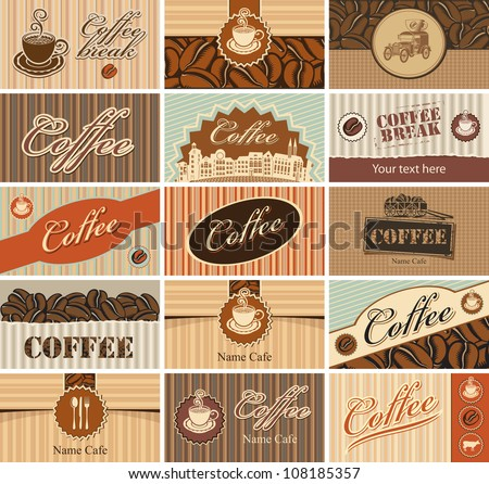 set of business cards on the theme of tea and coffee - stock vector