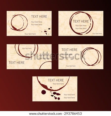 Set of business cards with grungy circle wine stains, elements, spots and place for your text. Vector.  - stock vector