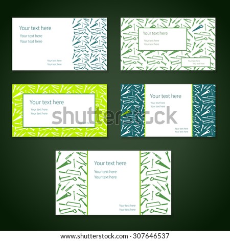 Set of business cards with plain working tools and place for your text. Vector. Colors - white, green and blue. - stock vector