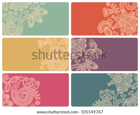 Set of business cards with vintage floral patterns - stock vector