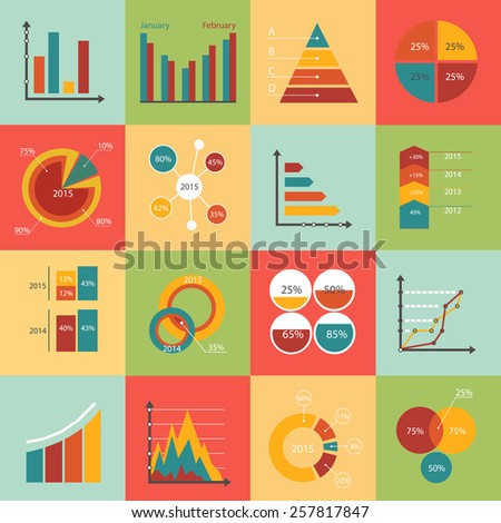 Set of business data market elements, diagrams, graphs. Flat style design icons. Vector illustration. - stock vector