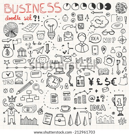 Set of business doodle elements made in vector. Idea, businessman, creative thinking, progress, graphs and all other kinds of business related elements. - stock vector
