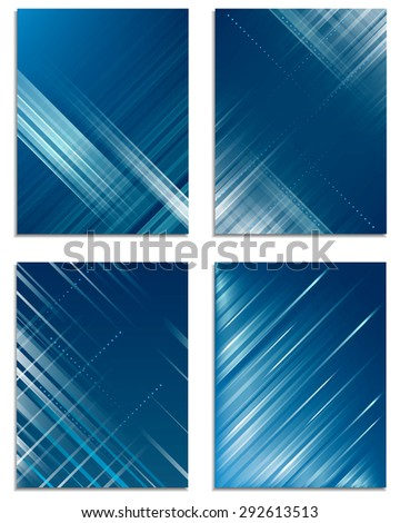 Set of business flyer template, corporate banner, cover design with technological abstract pattern/vector illustration - stock vector