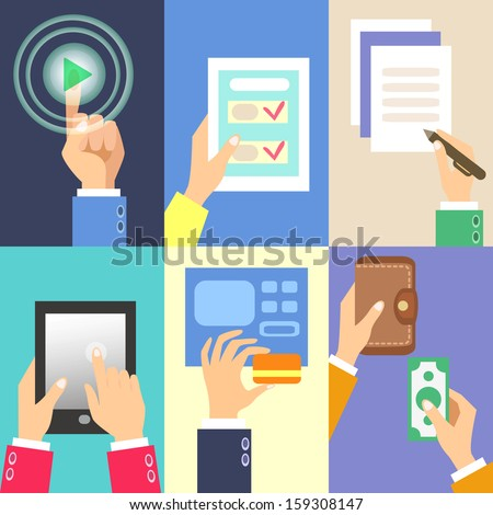 Set of business hands action concepts vector illustration - stock vector