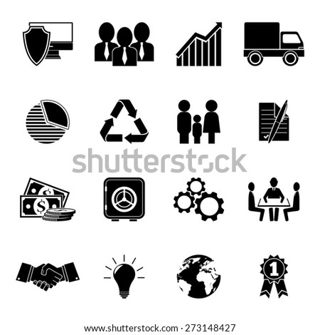 Set of 16 business icons. - stock vector