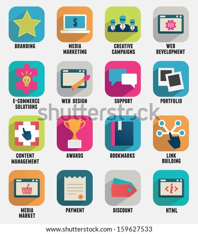 Set of business internet service and ecommerce icons. Flat style - part 2 - vector icons - stock vector