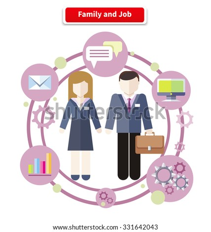 Set of business job icons in flat design around family. Job family concept. Balance between work and family life. Family and job. Husband manager. Wife manager. Circulation job and family - stock vector