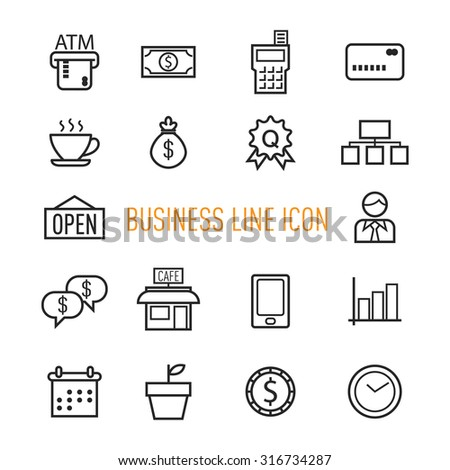 set of business line icon isolated on white background - stock vector