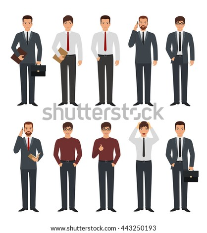 Set of business man character in various poses. Businessman holding smart phone, give thumb up sign - stock vector