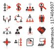 Set of 16 business, management and human resources icons. - stock vector