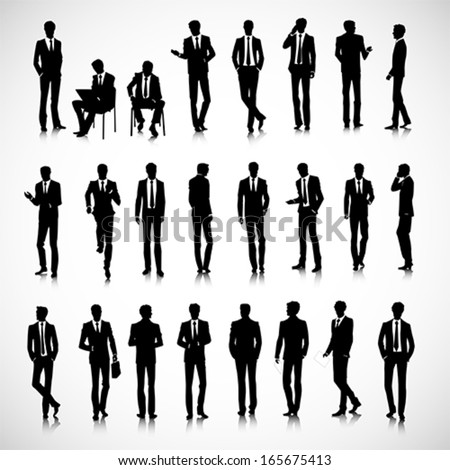 Set of business men silhouettes on background - stock vector