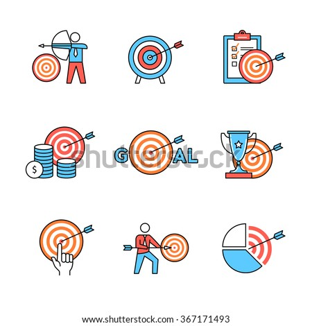 Set of business metaphors. Business men people aiming, achieving targets and goals. Flat style icons. Thin line art illustrations isolated on white. - stock vector
