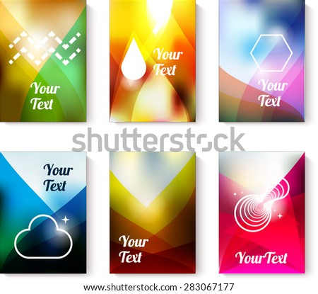Set of business of flyer cards with abstract colorfull backgrounds - stock vector