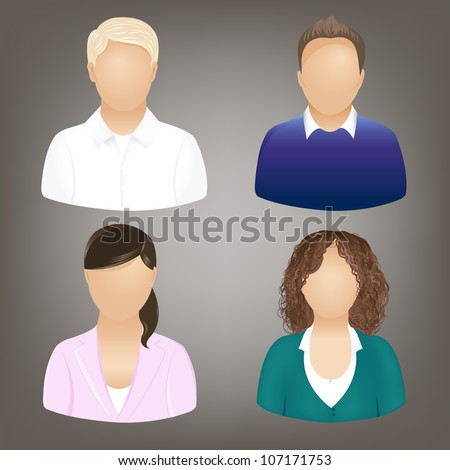 Set Of Business People Icons, Isolated On Grey, Vector Illustration - stock vector
