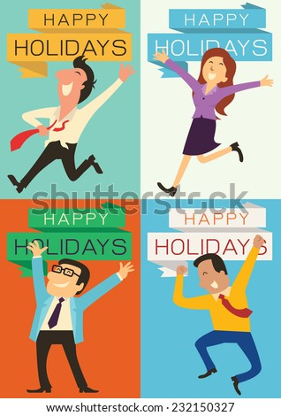 Set of business people, man, woman, and boss, raising hands with happy emotion for having and celebrate holidays. Each piece is in the ratio of A4 paper size.  - stock vector