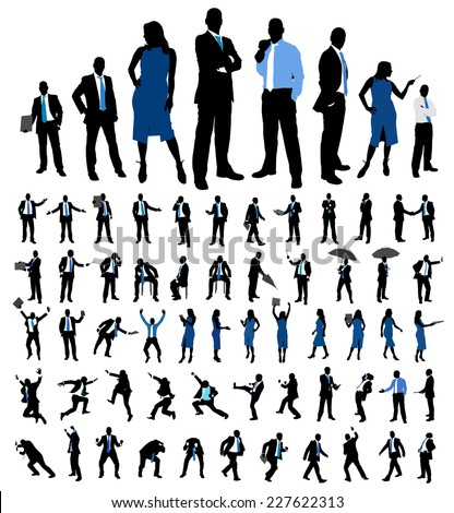 Set of business people silhouettes. Female and male different poses isolated on white. Vector illustration. - stock vector