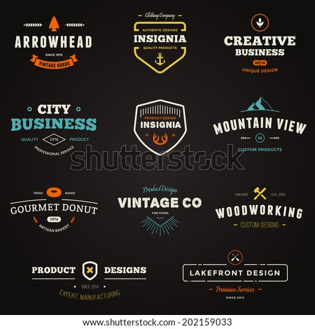 Set of business sign graphics and text logo designs - stock vector