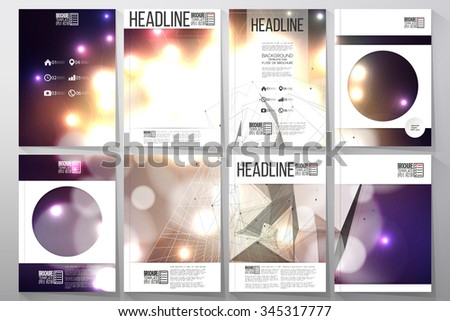 Set of business templates for brochure, flyer or booklet. Abstract multicolored background with bokeh lights and stars. Vector 3D pyramid, scientific digital design, science vector illustration. - stock vector