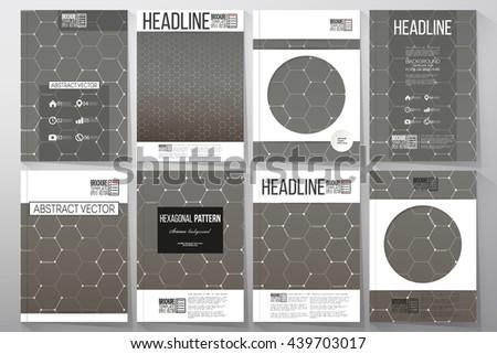 Set of business templates for brochure, flyer or booklet. Chemistry pattern, hexagonal design vector illustration. - stock vector