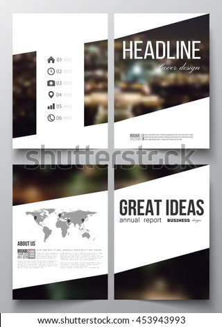 Set of business templates for brochure, magazine, flyer, booklet or annual report. Dark background, blurred image, night city landscape, Paris cityscape, modern vector template. - stock vector