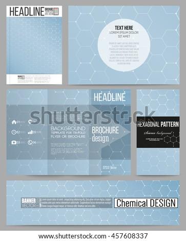 Set of business templates for presentation, brochure, flyer or booklet. Chemistry pattern, hexagonal design vector illustration. - stock vector