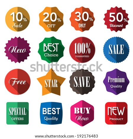 Set of business vintage badges and labels with long shadow.eps10 - stock vector