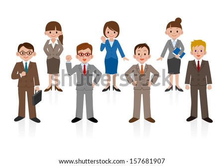 Set of business woman and business man - stock vector