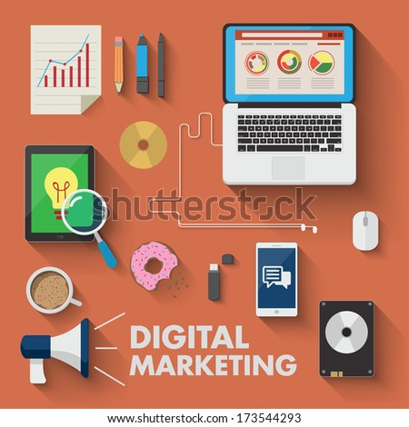 Set of business working elements for digital marketing - stock vector