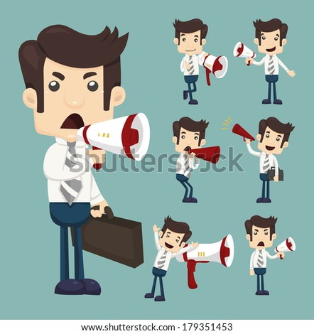 Set of businessman announcing through megaphone  , eps10 vector format - stock vector
